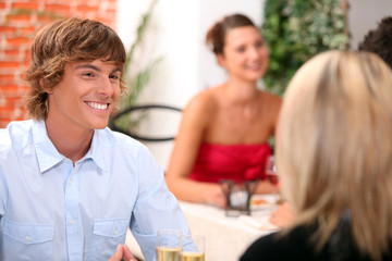 Young man on a date in a restaurant