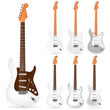 set of white electric guitars isolated on white background