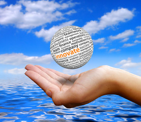 Ball in Hand with Ocean Background - Innovate