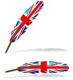 abstract uk flag feather isolated on white background