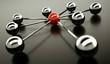 3d Rendering Netzwerk rot chrom