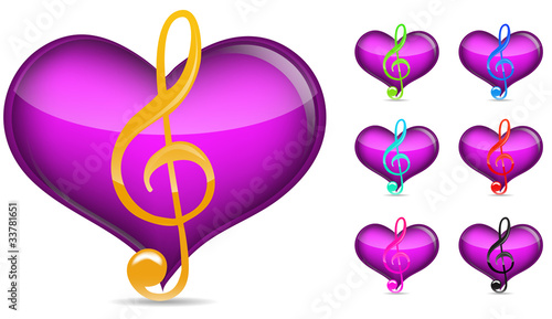 set of music note with heart isolated on white