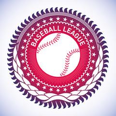 Illustrated modish baseball emblem.