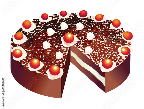 Vector of a black forest birthday cake