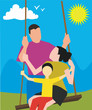 Parents with child on a swing