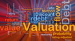 Debt valuation background concept glowing
