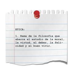 Recorte de papel texto ETICA