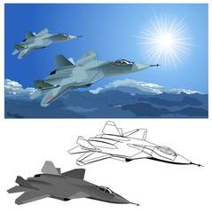 Vector modern stealth fighter