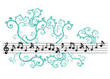 Music notes with ornament