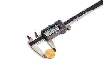 calipers and coin