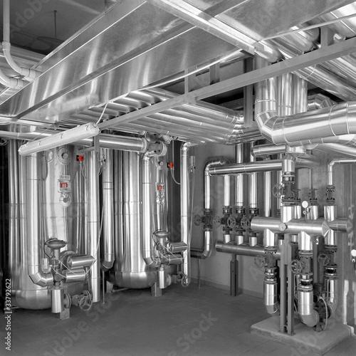 Foto op Plexiglas Metal silos impianto industriale