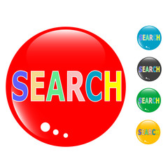 Search set of colored button glass icon