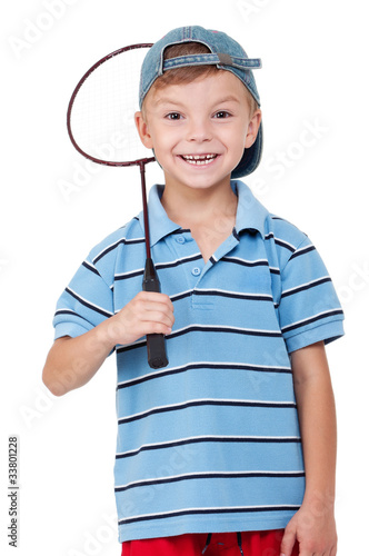 Boy with badminton racket