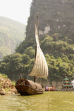 Traditional Chineese boat on Yangtze river, China