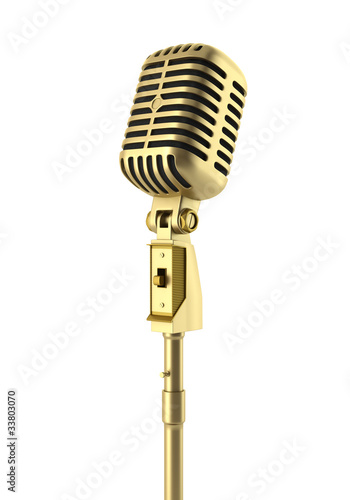 golden vintage microphone isolated on white background - 33803070