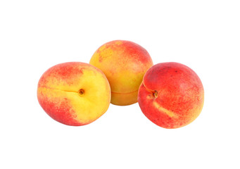Three ripe apricot, isolated on white background