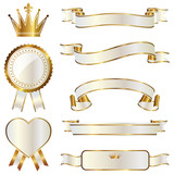 Fototapety ribbon emblem set