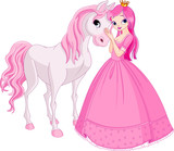 Fototapety Beautiful princess and horse