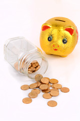 A money jar and piggy bank