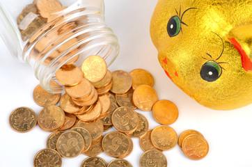 A money jar and piggy bank