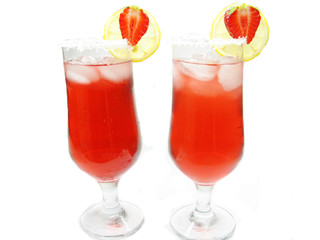alcoholic wine cocktail with strawberry