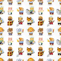 cartoon animal worker seamless pattern