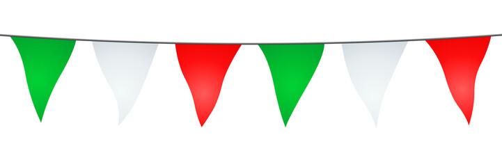 Guirlande de fanions verts, blancs et rouges