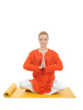 series or yoga photos. young meditating woman on yellow pilates