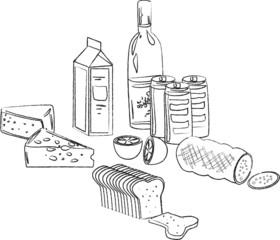 векторный набор пищи