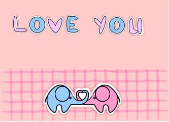 милой любви слонов, вектор