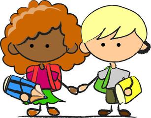 милые школьники и школьницы, школьные элементы