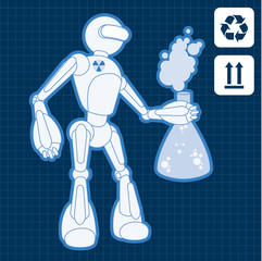 Nuclear physicist science robot blueprint plan illustration