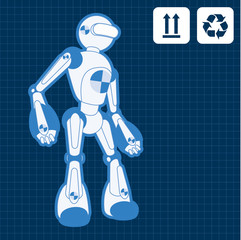 Animated construction site test robot blueprint