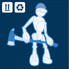 Animated construction site firemen robot blueprint