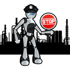 Animated construction site police officer robot illustration