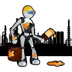 Animated worker construction site painter robot illustration