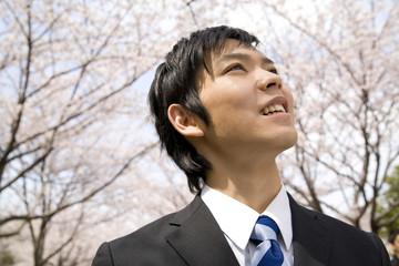 桜を見上げる新入社員