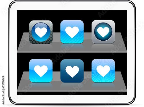 Heart blue app icons.