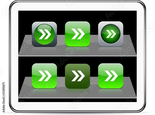 Forward arrow green app icons.