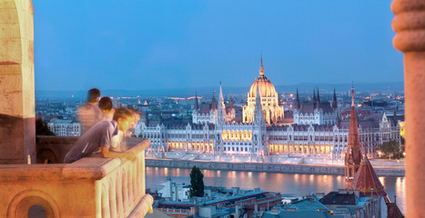 Budapest Tourists and Parliament