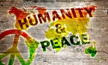 Holzschild - Humanity i pokój na świecie