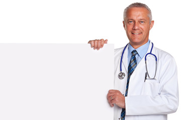 Doctor holding blank white poster isolated