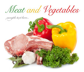 Fresh raw meat and vegetables isolated on white background.
