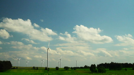 Windfarm and blue sky.