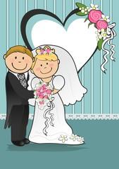 Newlyweds heart turquoise background