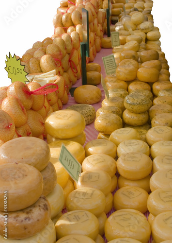 Cheese Market isolated on White