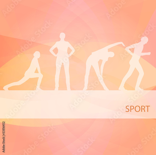 Animated women gymnastic exercises background illustration