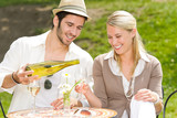 Restaurant terrace elegant couple celebrate sunny day