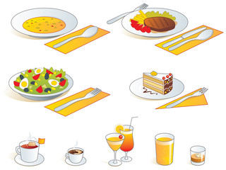 Restaurant food  - soup, main dish, salad, dessert, drinks
