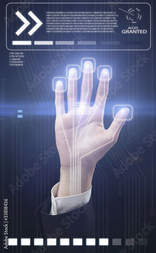 Technology scan man's hand for security or identification
